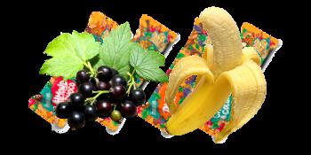 Lyofilizované černý rybíz, banán.